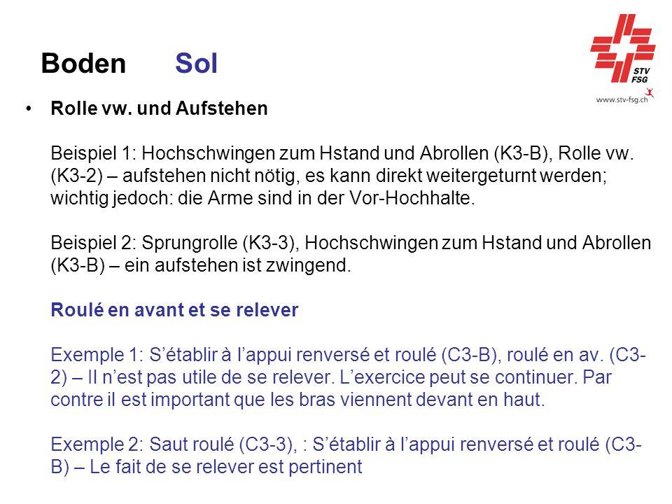 BodenSol Rolle vw. und Aufstehen Beispiel 1: Hochschwingen zum Hstand und Abrollen (K3-B), Rolle vw. (K3-2) – aufstehen nicht nötig, es kann direkt we