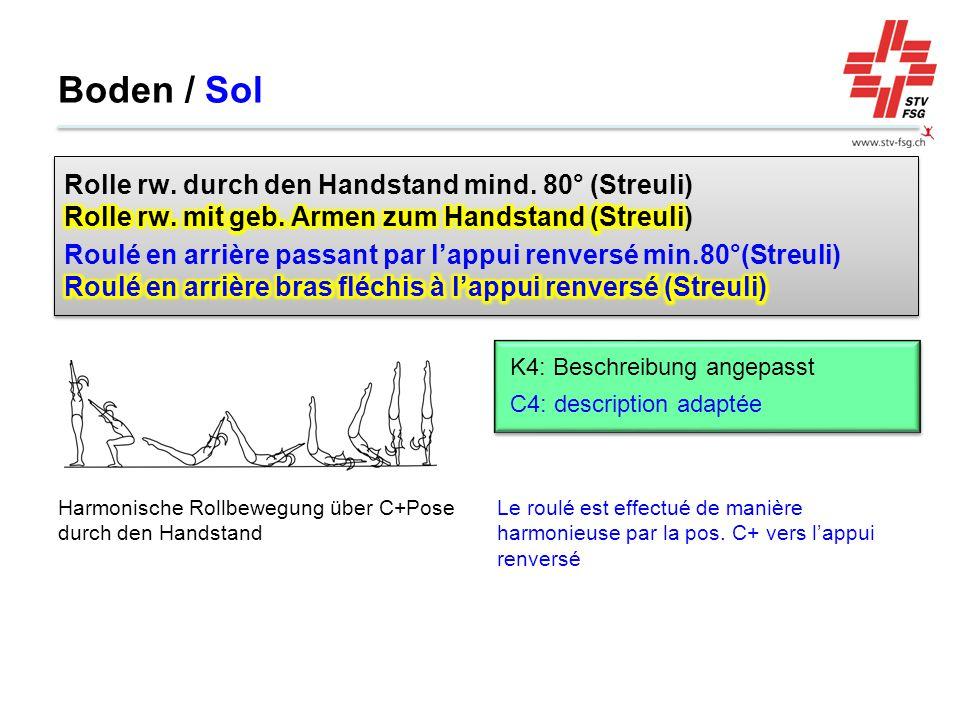 Boden / Sol Le roulé est effectué de manière harmonieuse par la pos. C+ vers l'appui renversé Harmonische Rollbewegung über C+Pose durch den Handstand