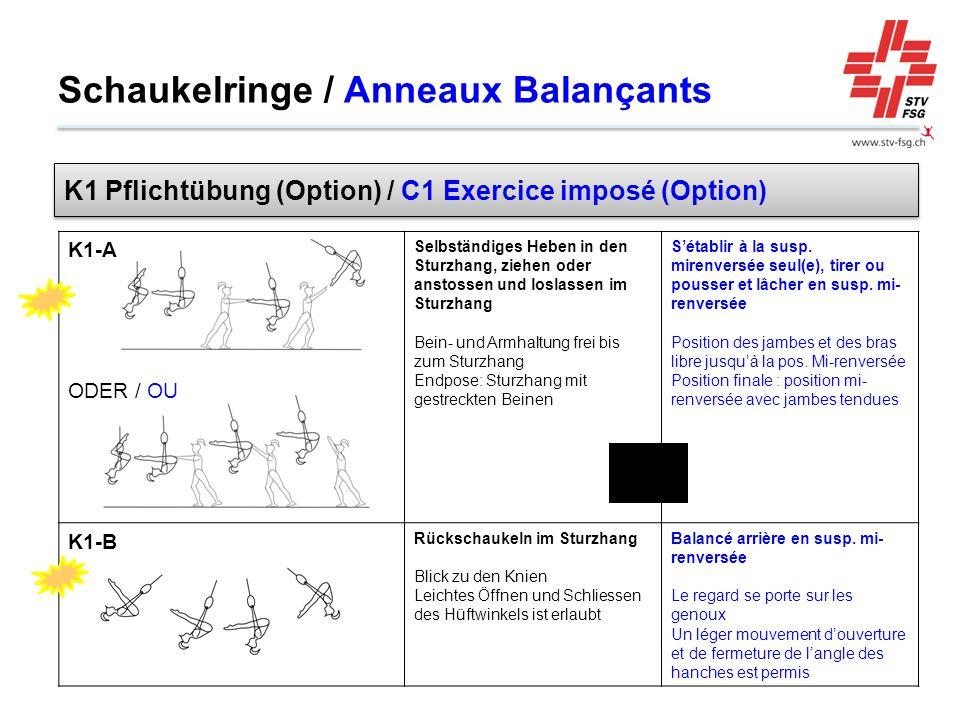 Schaukelringe / Anneaux Balançants K1-A ODER / OU Selbständiges Heben in den Sturzhang, ziehen oder anstossen und loslassen im Sturzhang Bein- und Arm