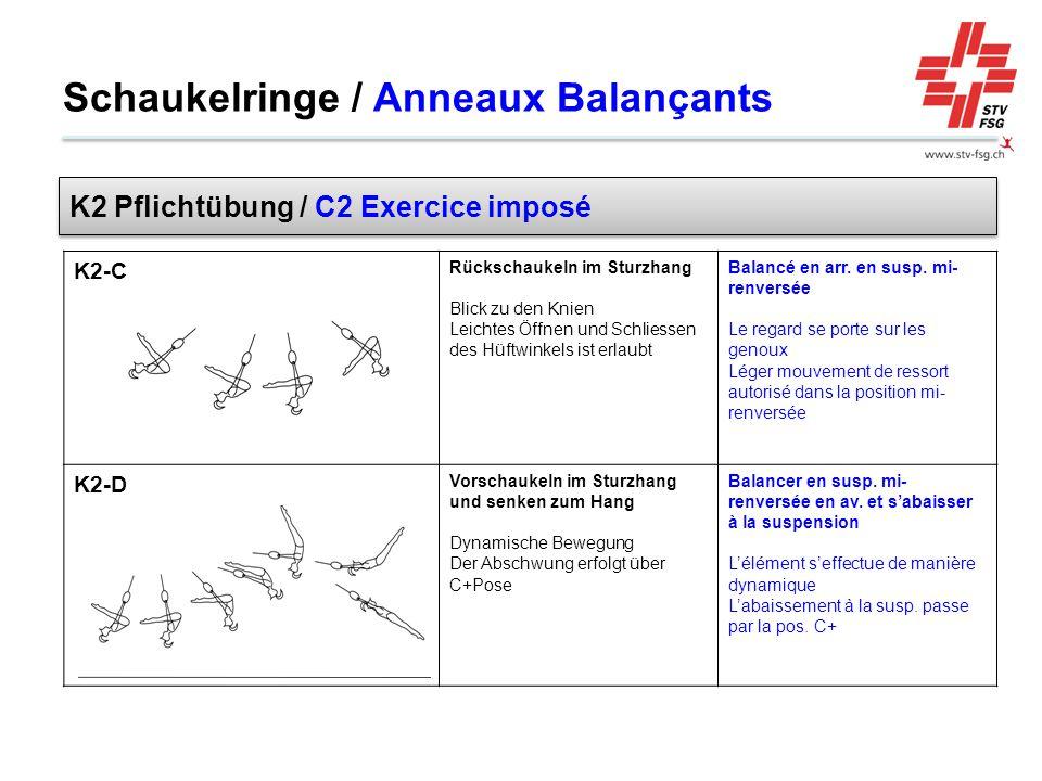 K2-C Rückschaukeln im Sturzhang Blick zu den Knien Leichtes Öffnen und Schliessen des Hüftwinkels ist erlaubt Balancé en arr. en susp. mi- renversée L