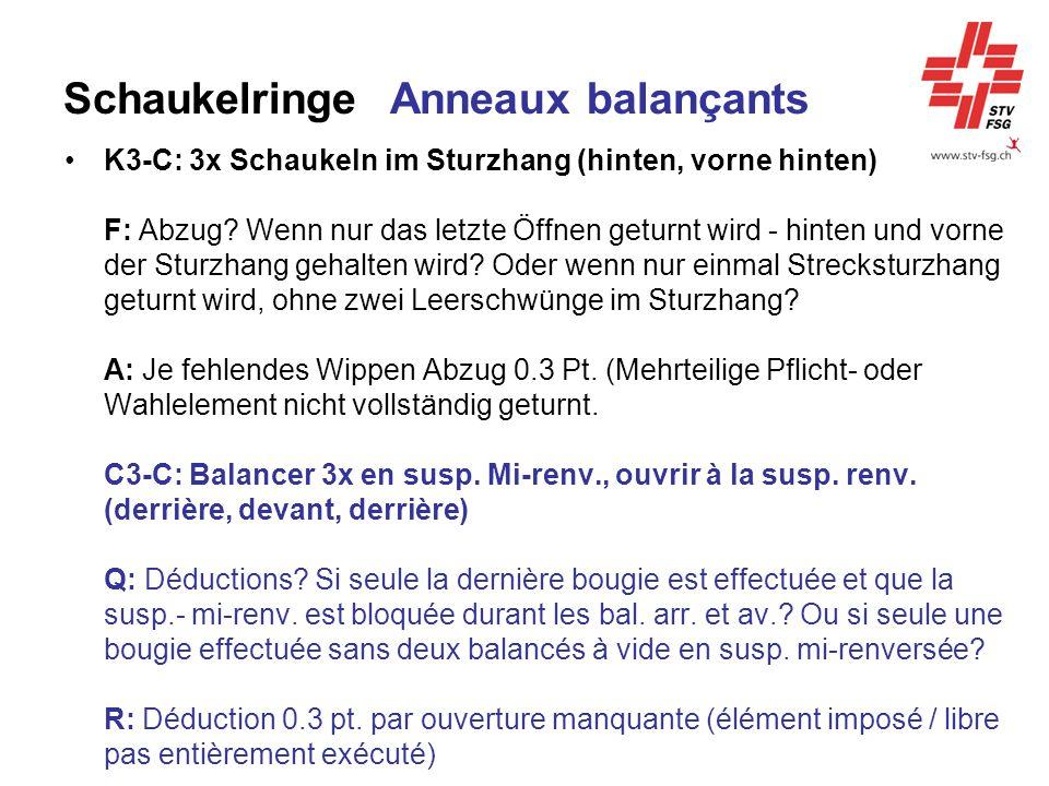 Schaukelringe Anneaux balançants K3-C: 3x Schaukeln im Sturzhang (hinten, vorne hinten) F: Abzug? Wenn nur das letzte Öffnen geturnt wird - hinten und
