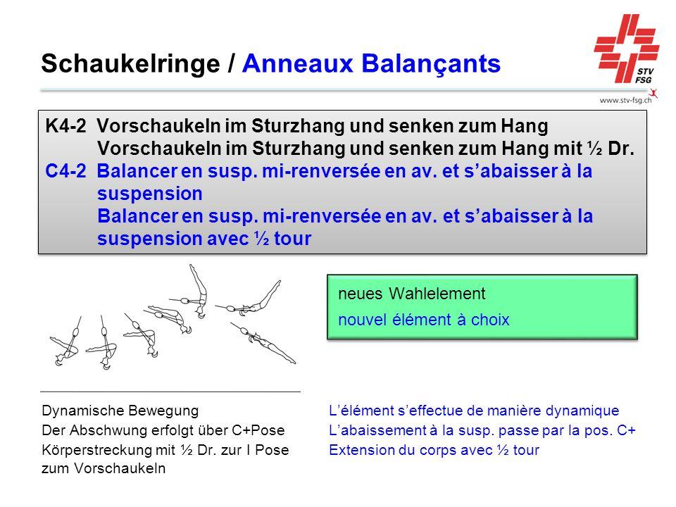 Schaukelringe / Anneaux Balançants L'élément s'effectue de manière dynamique L'abaissement à la susp. passe par la pos. C+ Extension du corps avec ½ t
