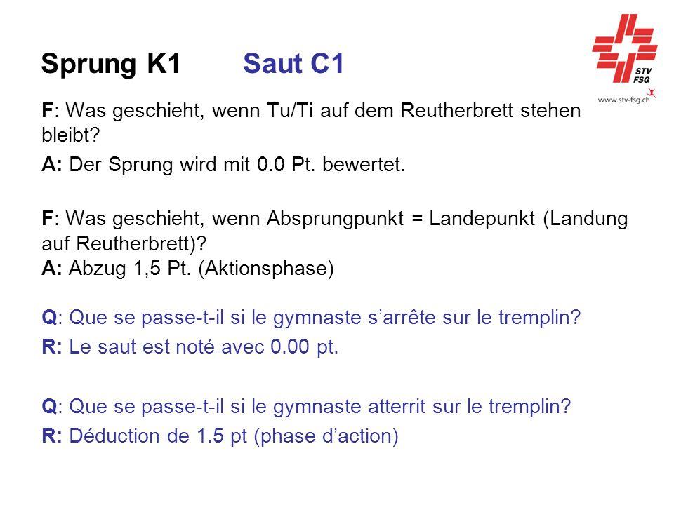 Sprung K1SautC1 F: Was geschieht, wenn Tu/Ti auf dem Reutherbrett stehen bleibt? A: Der Sprung wird mit 0.0 Pt. bewertet. F: Was geschieht, wenn Abspr