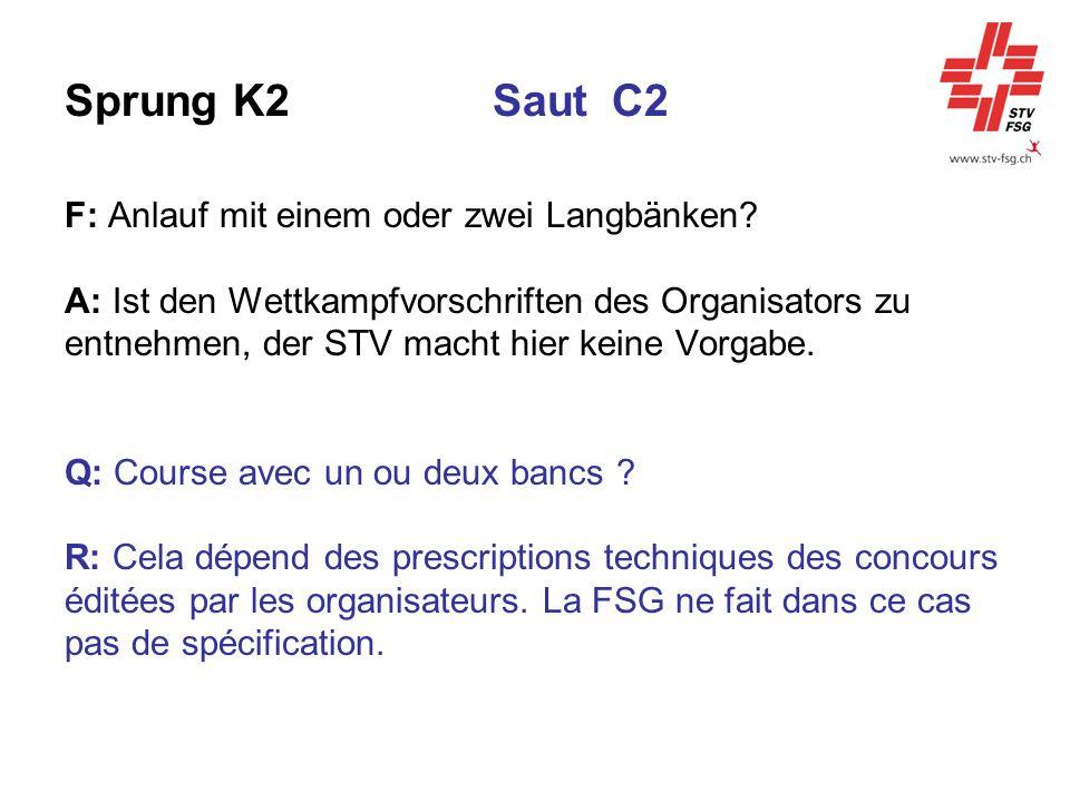 Sprung K2Saut C2 F: Anlauf mit einem oder zwei Langbänken? A: Ist den Wettkampfvorschriften des Organisators zu entnehmen, der STV macht hier keine Vo