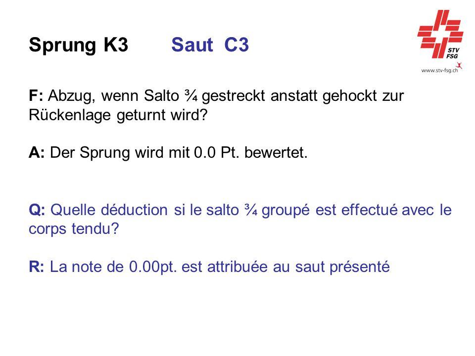 Sprung K3Saut C3 F: Abzug, wenn Salto ¾ gestreckt anstatt gehockt zur Rückenlage geturnt wird? A: Der Sprung wird mit 0.0 Pt. bewertet. Q: Quelle dédu