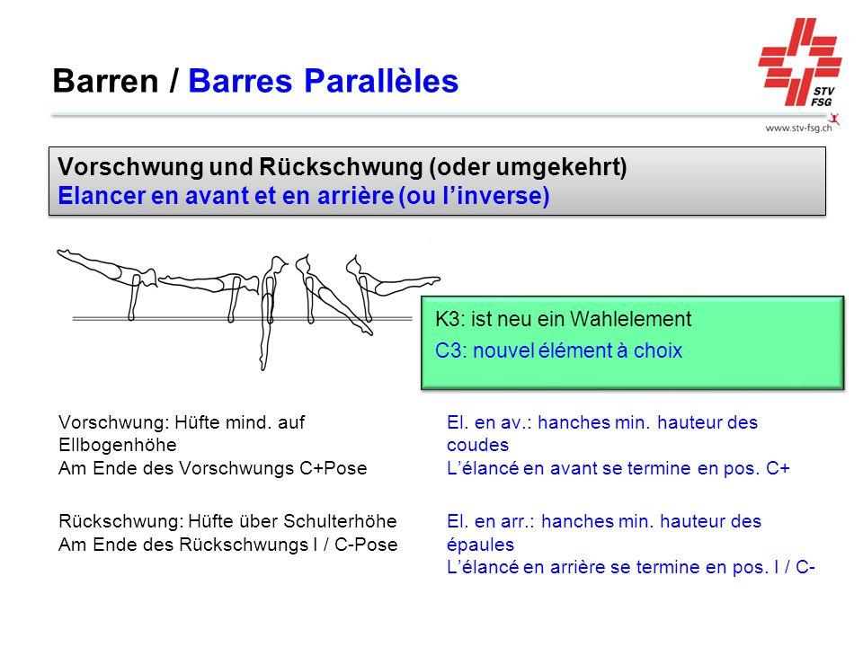 Barren / Barres Parallèles El. en av.: hanches min. hauteur des coudes L'élancé en avant se termine en pos. C+ El. en arr.: hanches min. hauteur des é