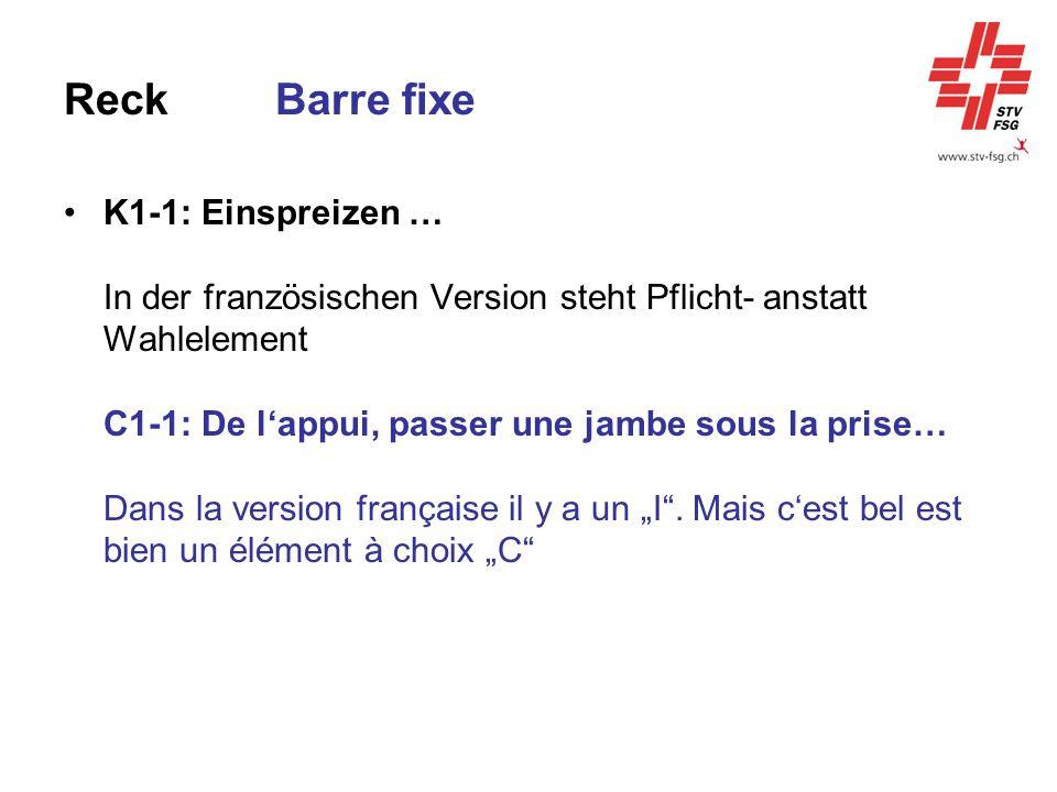 ReckBarre fixe K1-1: Einspreizen … In der französischen Version steht Pflicht- anstatt Wahlelement C1-1: De l'appui, passer une jambe sous la prise… D