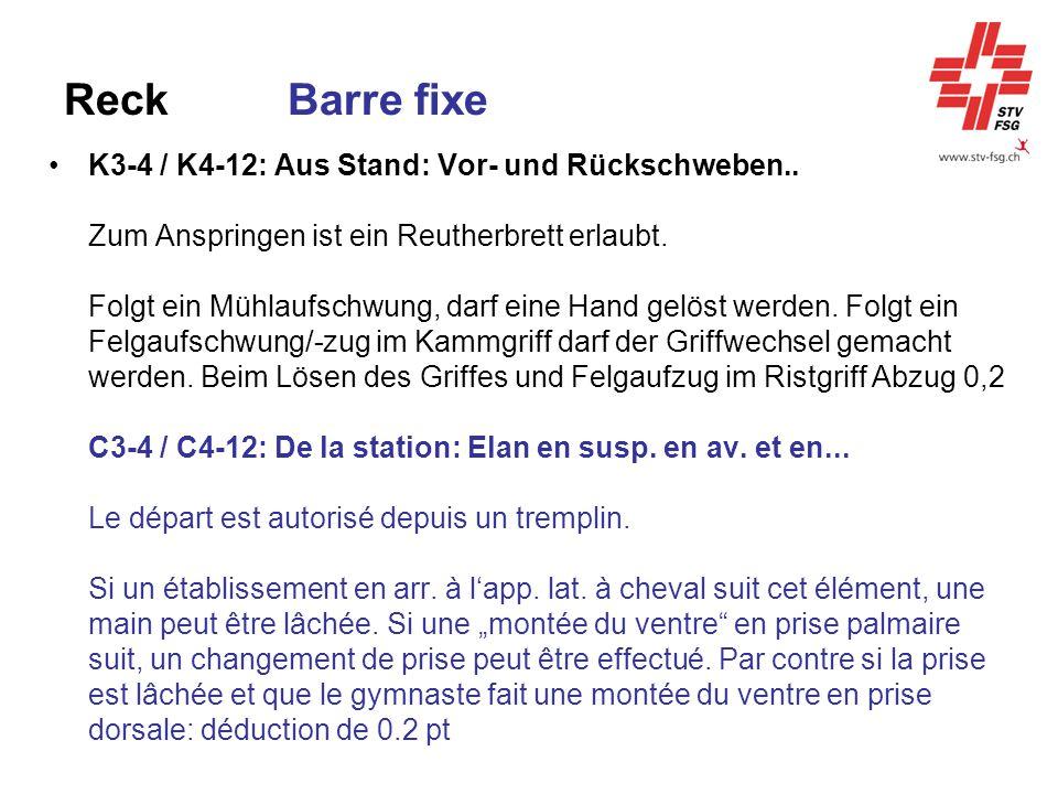 Reck Barre fixe K3-4 / K4-12: Aus Stand: Vor- und Rückschweben.. Zum Anspringen ist ein Reutherbrett erlaubt. Folgt ein Mühlaufschwung, darf eine Hand