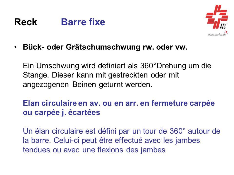 ReckBarre fixe Bück- oder Grätschumschwung rw. oder vw. Ein Umschwung wird definiert als 360°Drehung um die Stange. Dieser kann mit gestreckten oder m