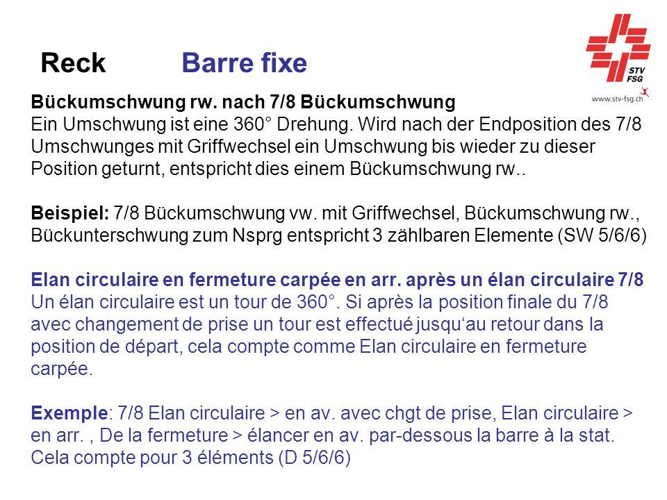 Reck Barre fixe Bückumschwung rw. nach 7/8 Bückumschwung Ein Umschwung ist eine 360° Drehung. Wird nach der Endposition des 7/8 Umschwunges mit Griffw
