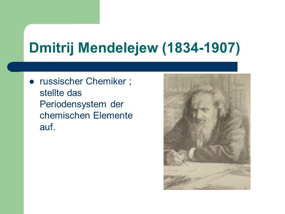 Dmitrij Mendelejew (1834-1907) russischer Chemiker ; stellte das Periodensystem der chemischen Elemente auf.