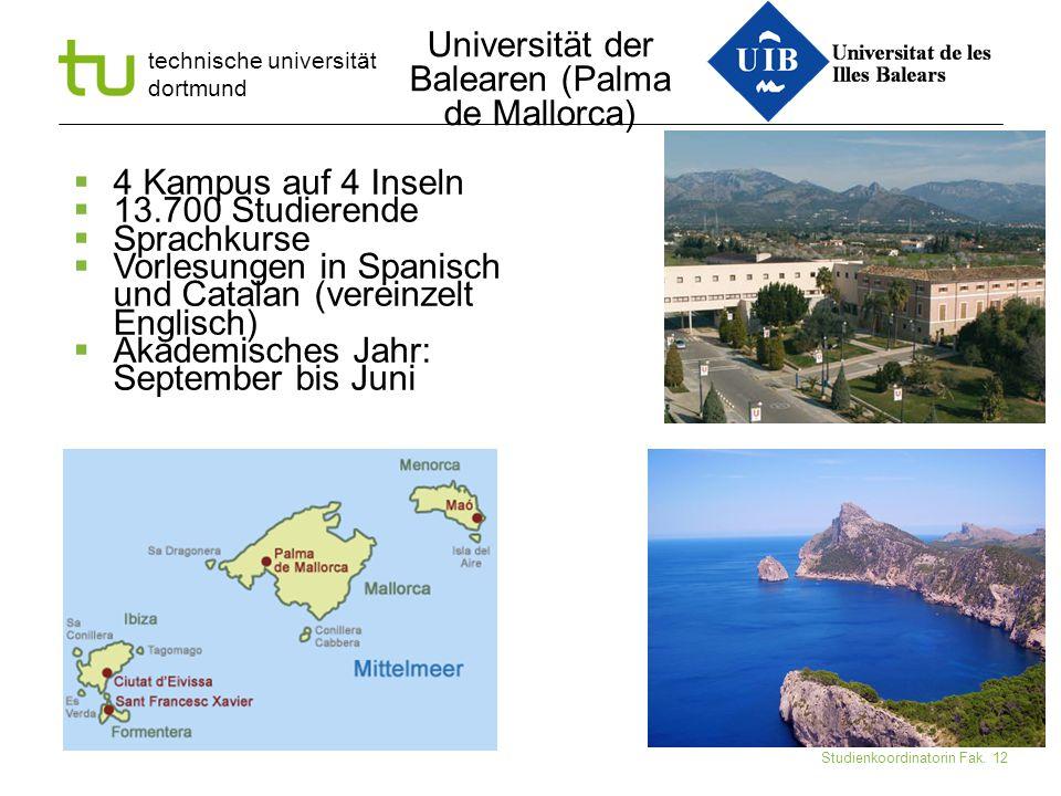 technische universität dortmund Ute Schmidt-Diarra Studienkoordinatorin Fak. 12  4 Kampus auf 4 Inseln  13.700 Studierende  Sprachkurse  Vorlesung