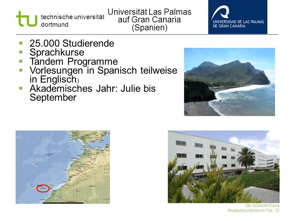 technische universität dortmund Ute Schmidt-Diarra Studienkoordinatorin Fak. 12  25.000 Studierende  Sprachkurse  Tandem Programme  Vorlesungen in