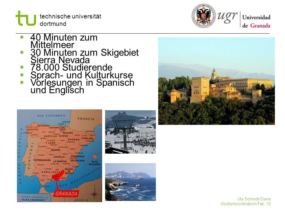 technische universität dortmund Ute Schmidt-Diarra Studienkoordinatorin Fak. 12  40 Minuten zum Mittelmeer  30 Minuten zum Skigebiet Sierra Nevada 