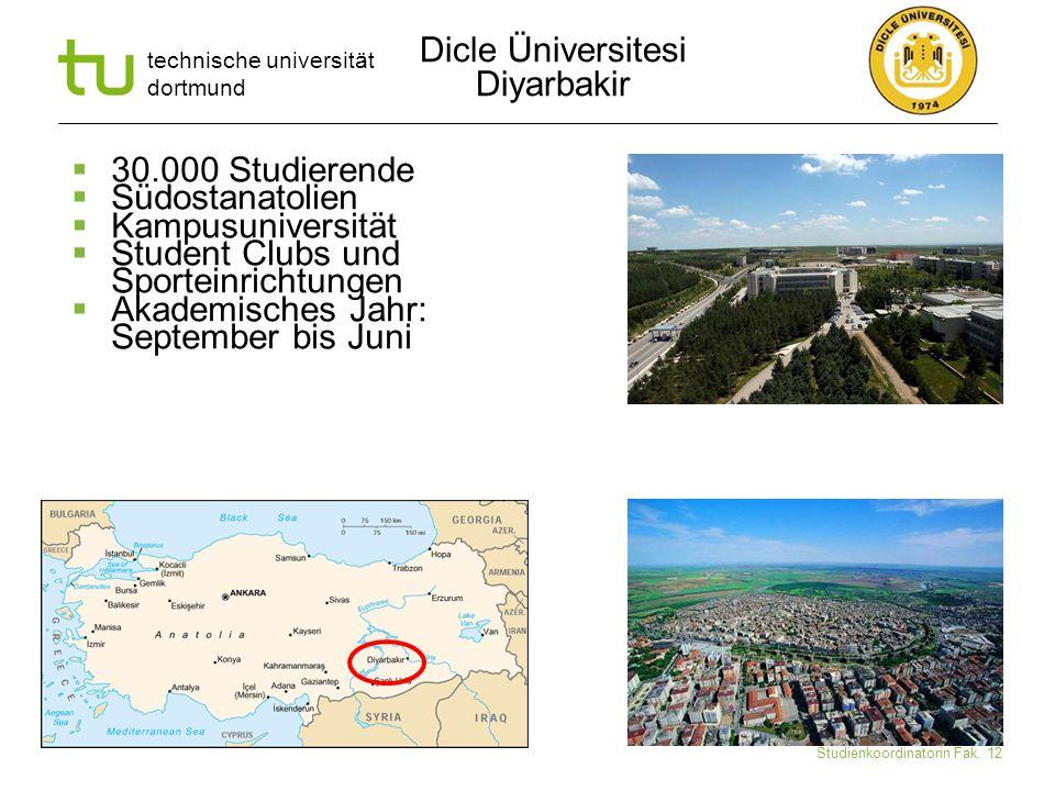 technische universität dortmund Ute Schmidt-Diarra Studienkoordinatorin Fak. 12  30.000 Studierende  Südostanatolien  Kampusuniversität  Student C