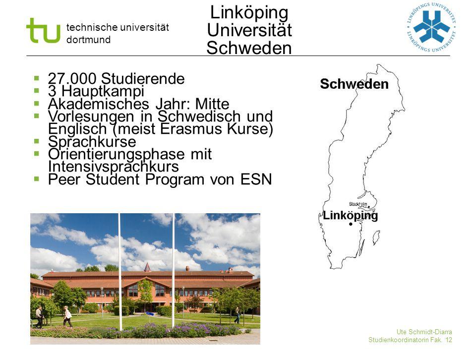 technische universität dortmund Ute Schmidt-Diarra Studienkoordinatorin Fak. 12  27.000 Studierende  3 Hauptkampi  Akademisches Jahr: Mitte  Vorle
