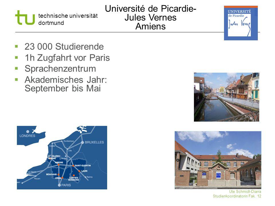 technische universität dortmund Ute Schmidt-Diarra Studienkoordinatorin Fak. 12 Université de Picardie- Jules Vernes Amiens  23 000 Studierende  1h