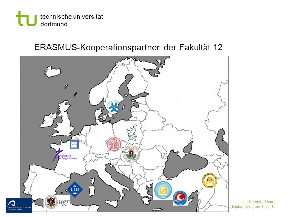 technische universität dortmund Ute Schmidt-Diarra Studienkoordinatorin Fak. 12 ERASMUS-Kooperationspartner der Fakultät 12