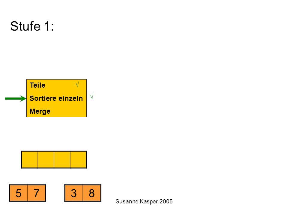 Susanne Kasper, 2005 Stufe 1: Teile Sortiere einzeln Merge 5738 √ √