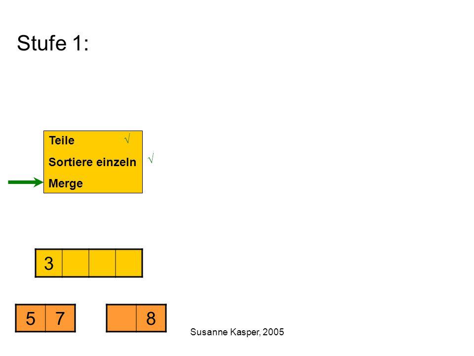 Susanne Kasper, 2005 Stufe 1: Teile Sortiere einzeln Merge 3 578 √ √
