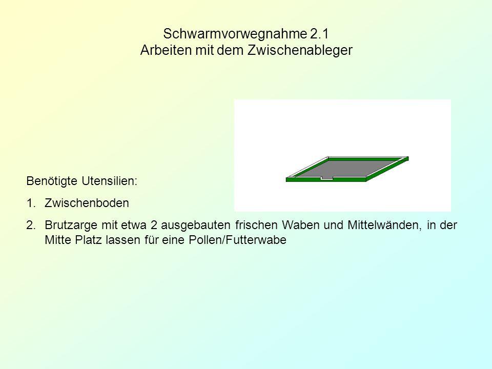 Schwarmvorwegnahme 2.1 Arbeiten mit dem Zwischenableger Benötigte Utensilien: 1.Zwischenboden 2.Brutzarge mit etwa 2 ausgebauten frischen Waben und Mi