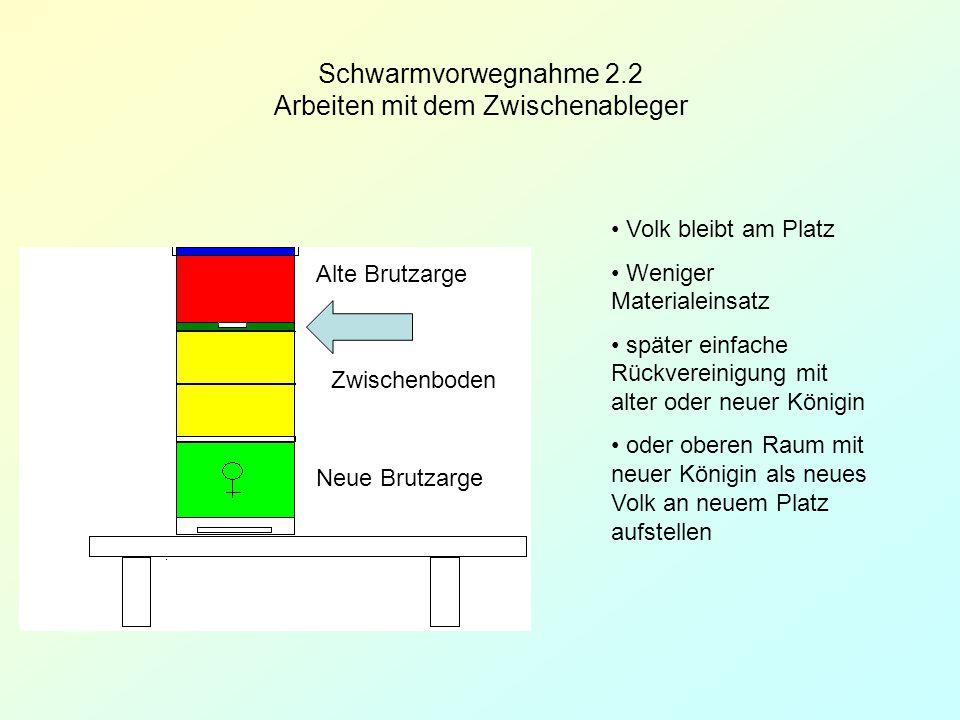 Schwarmvorwegnahme 2.2 Arbeiten mit dem Zwischenableger Zwischenboden Volk bleibt am Platz Weniger Materialeinsatz später einfache Rückvereinigung mit