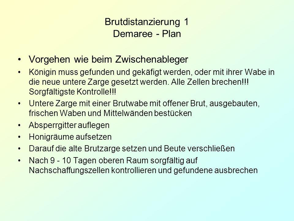 Brutdistanzierung 1 Demaree - Plan Vorgehen wie beim Zwischenableger Königin muss gefunden und gekäfigt werden, oder mit ihrer Wabe in die neue untere