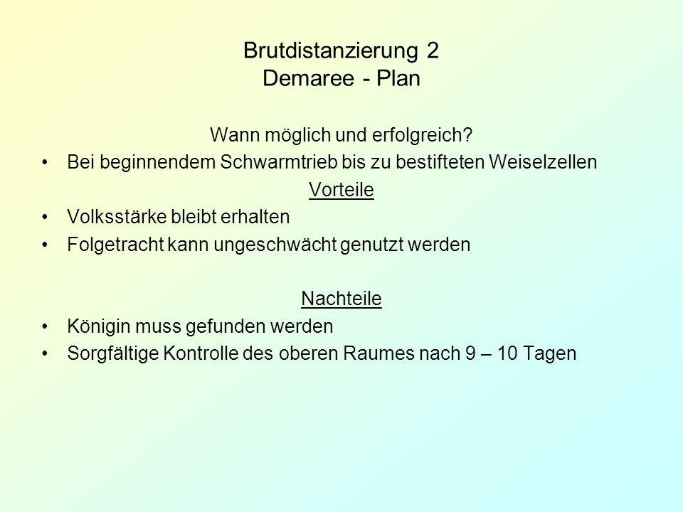 Brutdistanzierung 2 Demaree - Plan Wann möglich und erfolgreich? Bei beginnendem Schwarmtrieb bis zu bestifteten Weiselzellen Vorteile Volksstärke ble