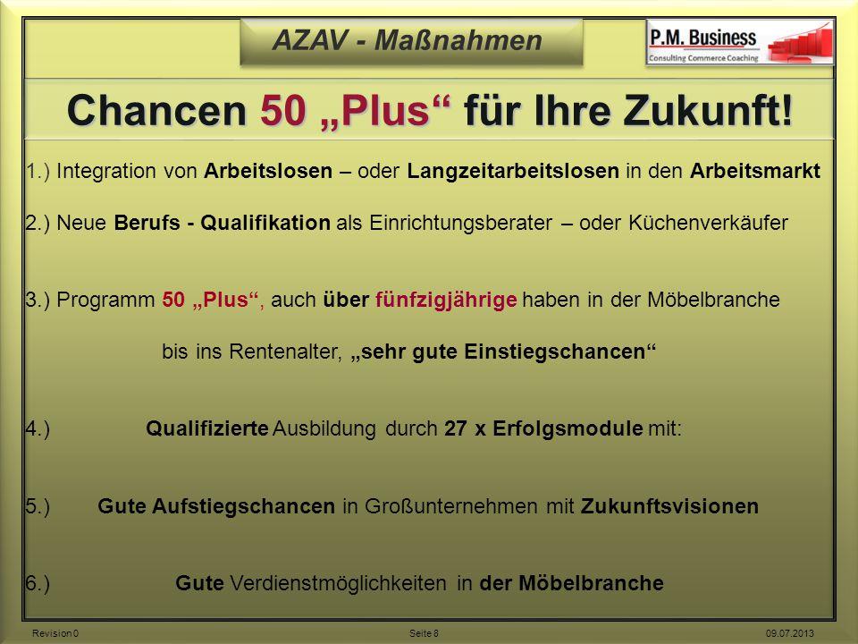 """AZAV - Maßnahmen Chancen 50 """"Plus"""" für Ihre Zukunft! 1.) Integration von Arbeitslosen – oder Langzeitarbeitslosen in den Arbeitsmarkt 2.) Neue Berufs"""