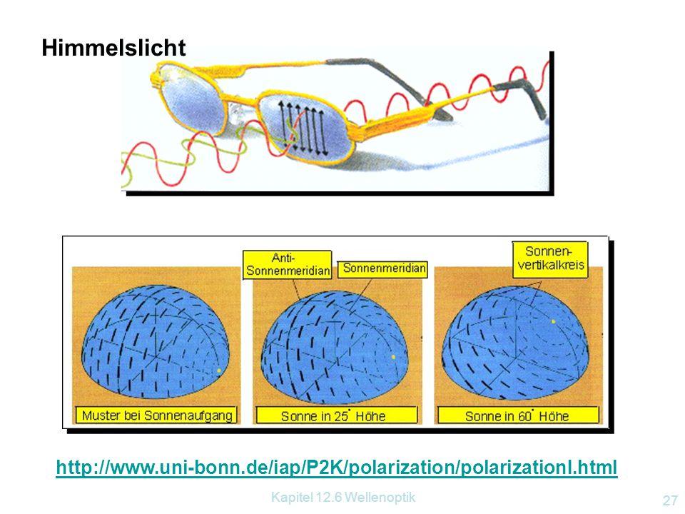 Kapitel 12.6 Wellenoptik 26 12.6.3.3 Polarisation durch Streuung Versuch: Ein Wassertrog wird mit parallelem Licht durchstrahlt. Seitlich betrachten w