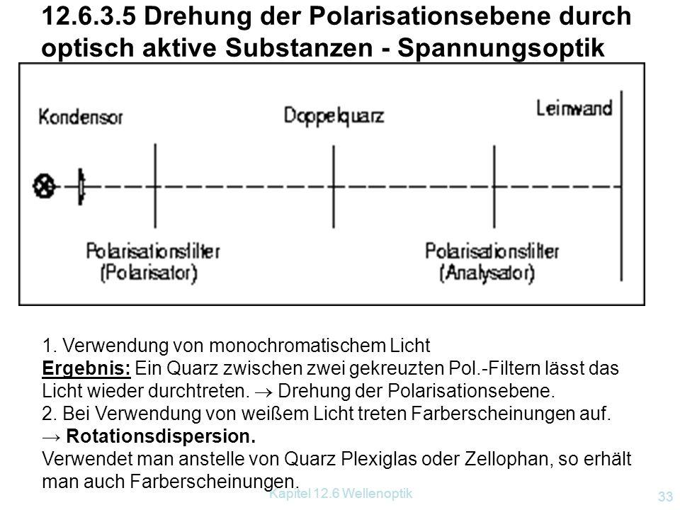 Kapitel 12.6 Wellenoptik 32 Linear-, zirkularpolarisiert Linear polarisierte Welle Zirkular polarisierte Welle