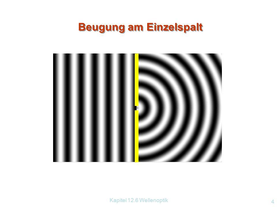 Kapitel 12.6 Wellenoptik 3 Fortpflanzungsrichtung WellenfrontenElementarwellen Huygenssches Prinzip Jeder Punkt einer Wellenfläche ist Ausgangspunkt e