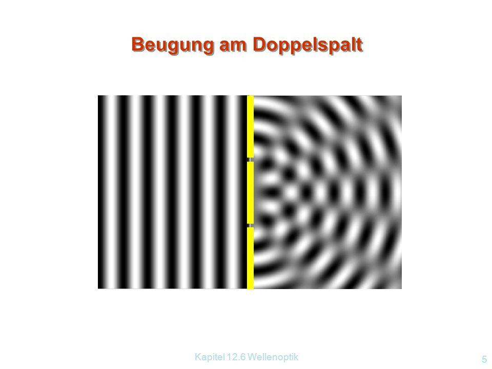 Kapitel 12.6 Wellenoptik 15 Compact Disc – Digital Versatile Disc CD DVD Disc-Durchmesser Laser Spurabstand minimale Pitlänge Kapazität 120mm 780nm 1,6  m 0,83  m ~700MB 120mm 635 – 650nm 0,74  m 0,4  m Single ~4,7GB Dual ~8,5GB