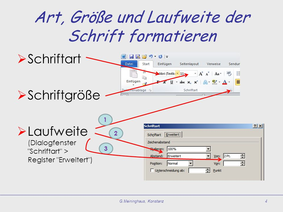 Art, Größe und Laufweite der Schrift formatieren  Schriftart  Schriftgröße  Laufweite (Dialogfenster