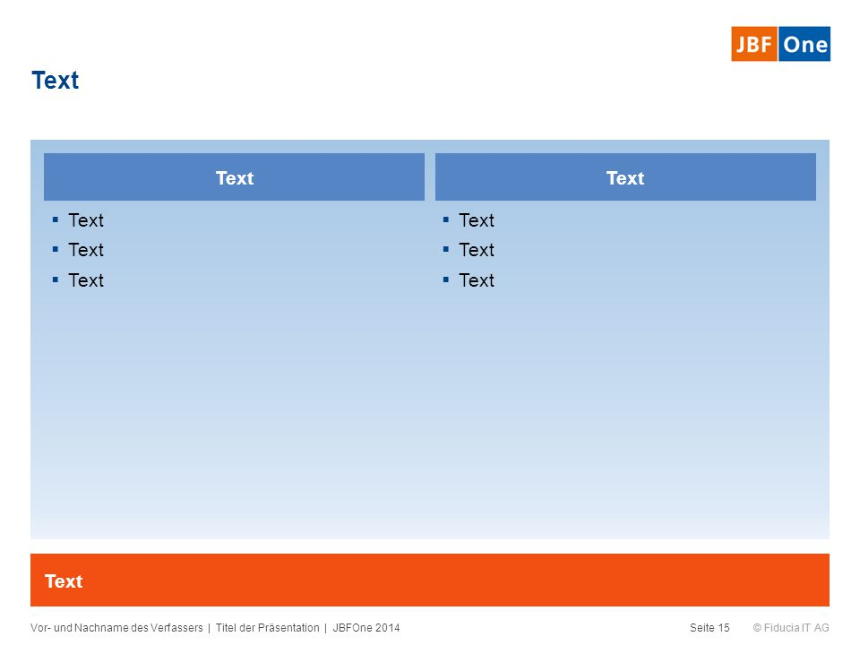 © Fiducia IT AG Text Vor- und Nachname des Verfassers | Titel der Präsentation | JBFOne 2014Seite 15 Text  Text