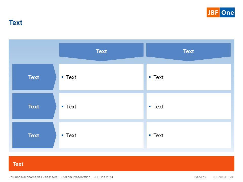 © Fiducia IT AG  Text Text Vor- und Nachname des Verfassers | Titel der Präsentation | JBFOne 2014Seite 19 Text  Text