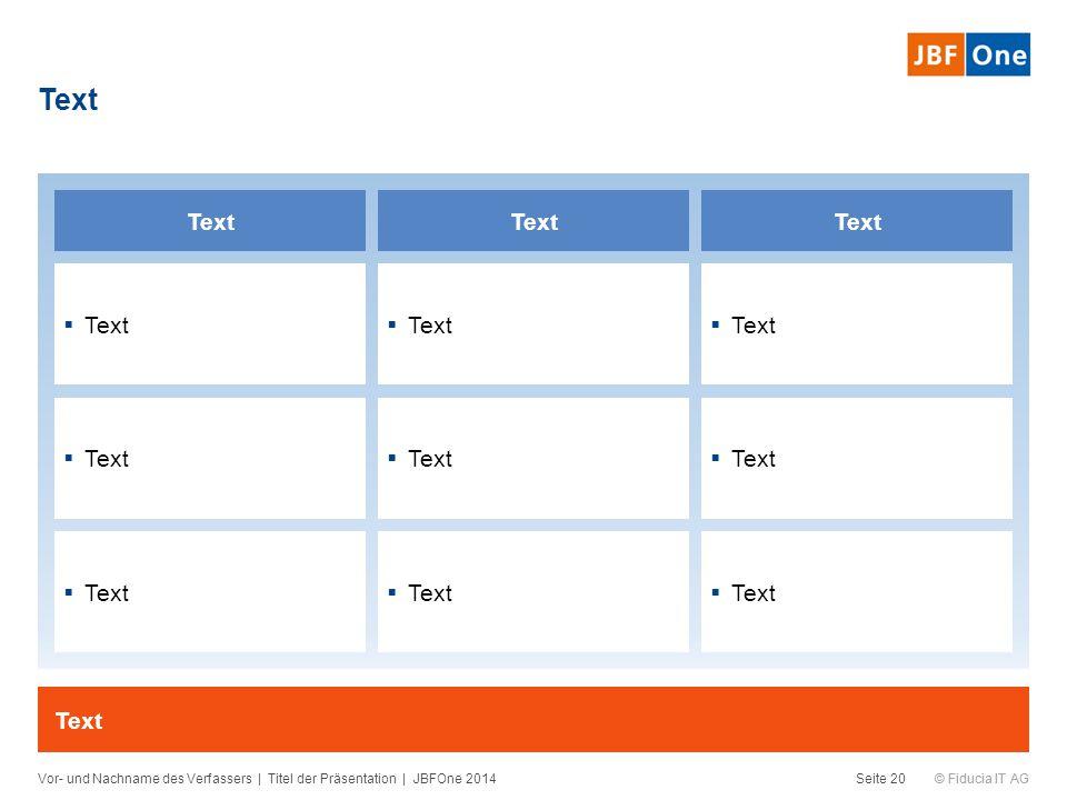 © Fiducia IT AG Text Vor- und Nachname des Verfassers | Titel der Präsentation | JBFOne 2014Seite 20 Text  Text