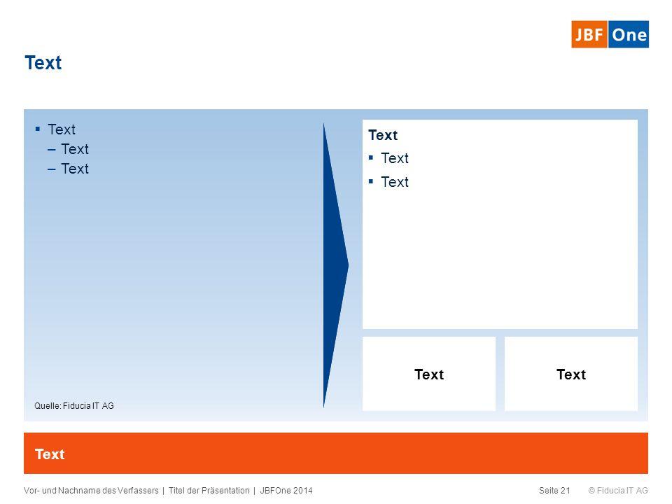 © Fiducia IT AG  Text –Text Text Vor- und Nachname des Verfassers | Titel der Präsentation | JBFOne 2014Seite 21 Text  Text Quelle: Fiducia IT AG