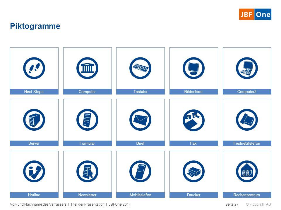 © Fiducia IT AG Piktogramme Seite 27 MobiltelefonHotline FestnetztelefonFaxBriefFormularServer NewsletterDruckerRechenzentrum Next StepsComputerTastat