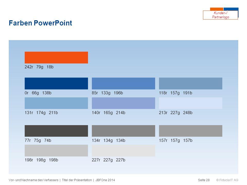 © Fiducia IT AG Farben PowerPoint Vor- und Nachname des Verfassers | Titel der Präsentation | JBFOne 2014Seite 28 242r 79g 18b 0r 66g 138b85r 133g 196