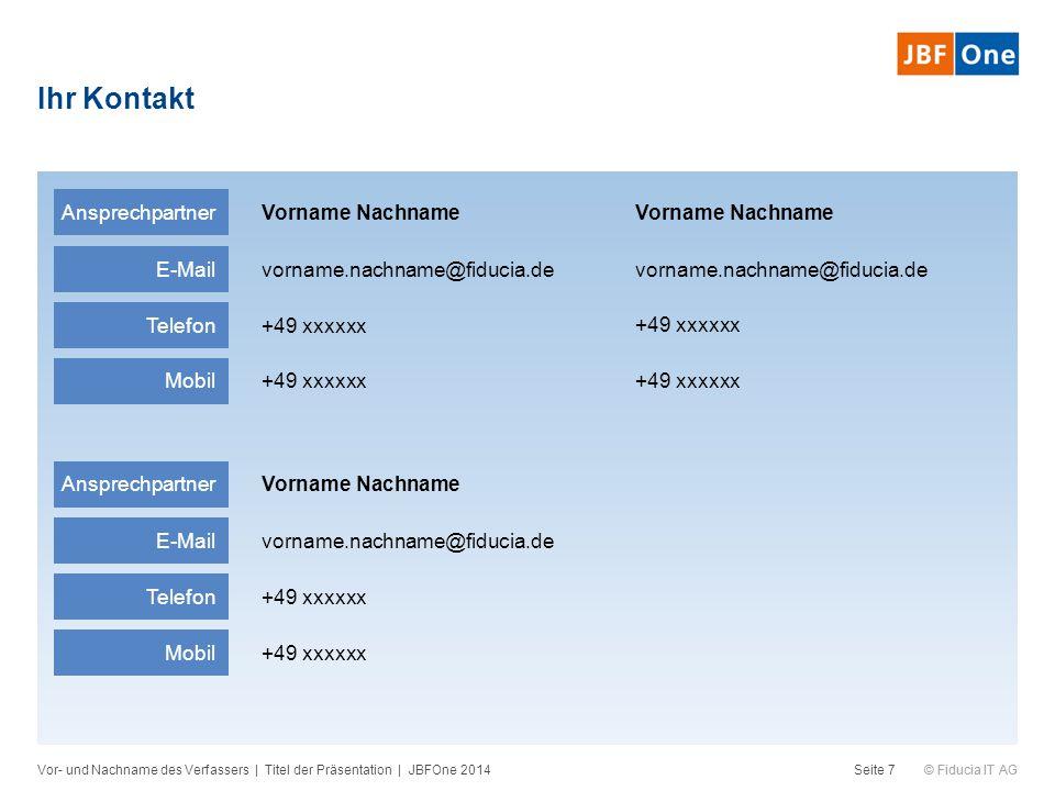 © Fiducia IT AG Ihr Kontakt Vor- und Nachname des Verfassers | Titel der Präsentation | JBFOne 2014Seite 7 Ansprechpartner Vorname Nachname E-Mail vor