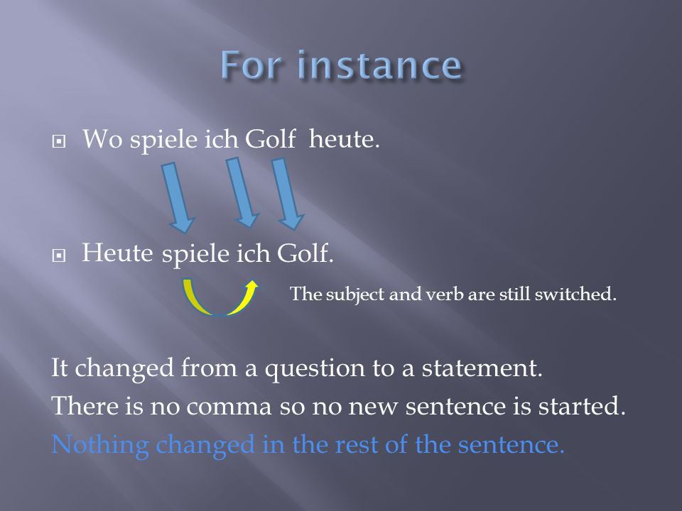  Wo spiele ich Golf  spiele ich Golf. The subject and verb are still switched.