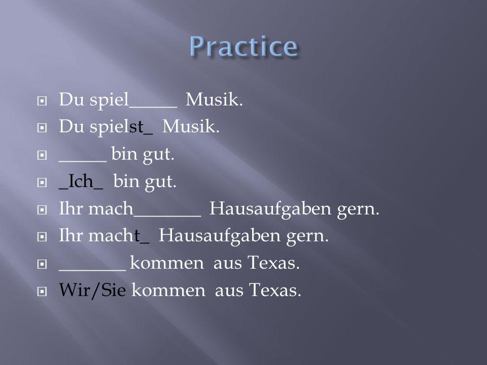  Du spiel_____ Musik.  Du spielst_ Musik.  _____ bin gut.