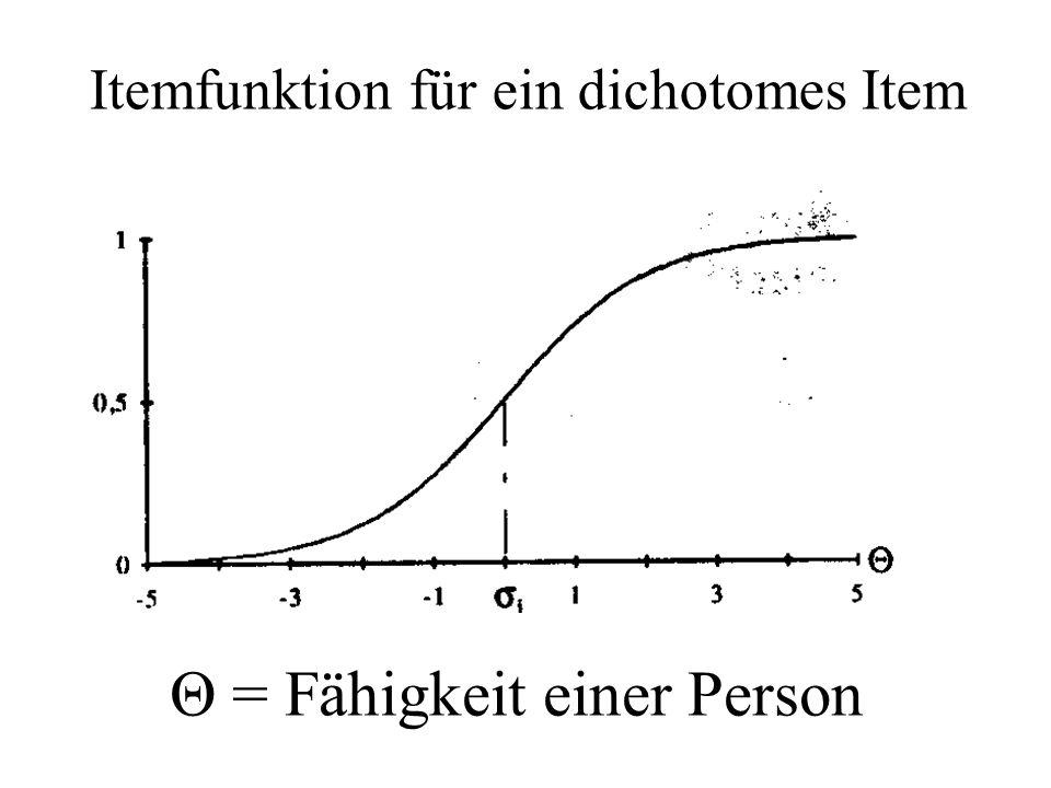 Θ = Fähigkeit einer Person Itemfunktion für ein dichotomes Item
