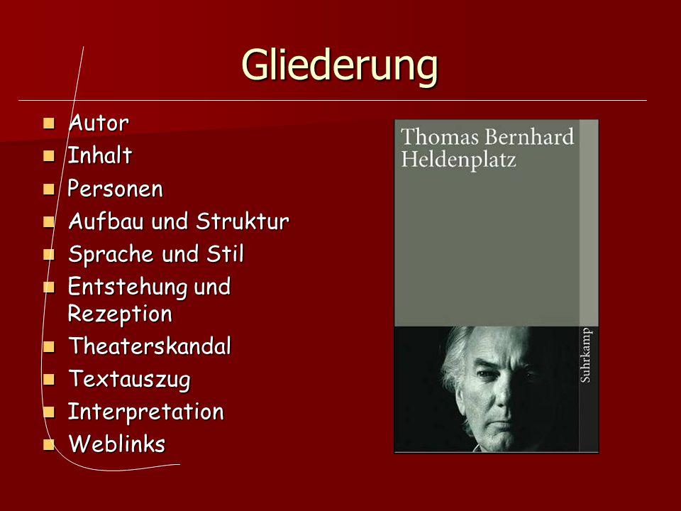 Gliederung Autor Autor Inhalt Inhalt Personen Personen Aufbau und Struktur Aufbau und Struktur Sprache und Stil Sprache und Stil Entstehung und Rezept