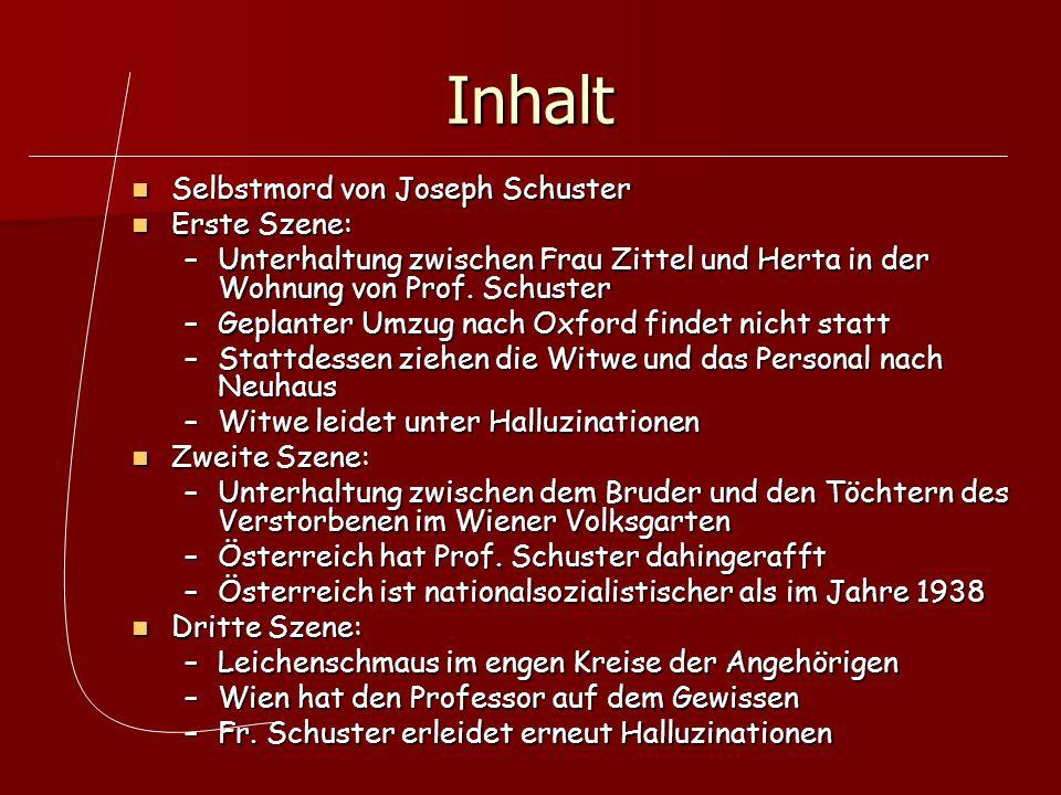 Inhalt Selbstmord von Joseph Schuster Selbstmord von Joseph Schuster Erste Szene: Erste Szene: –Unterhaltung zwischen Frau Zittel und Herta in der Woh