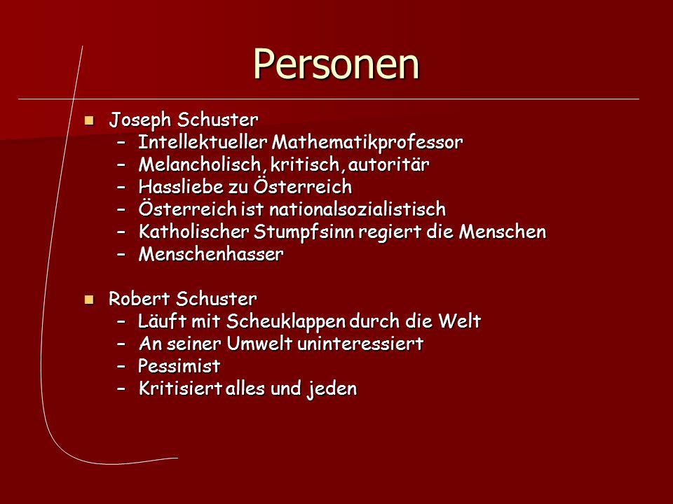 Personen Frau Schuster Frau Schuster –Leidet unter Halluzinationen –Hört das Geschrei der Massen vom Heldenplatz –Kapitalistin