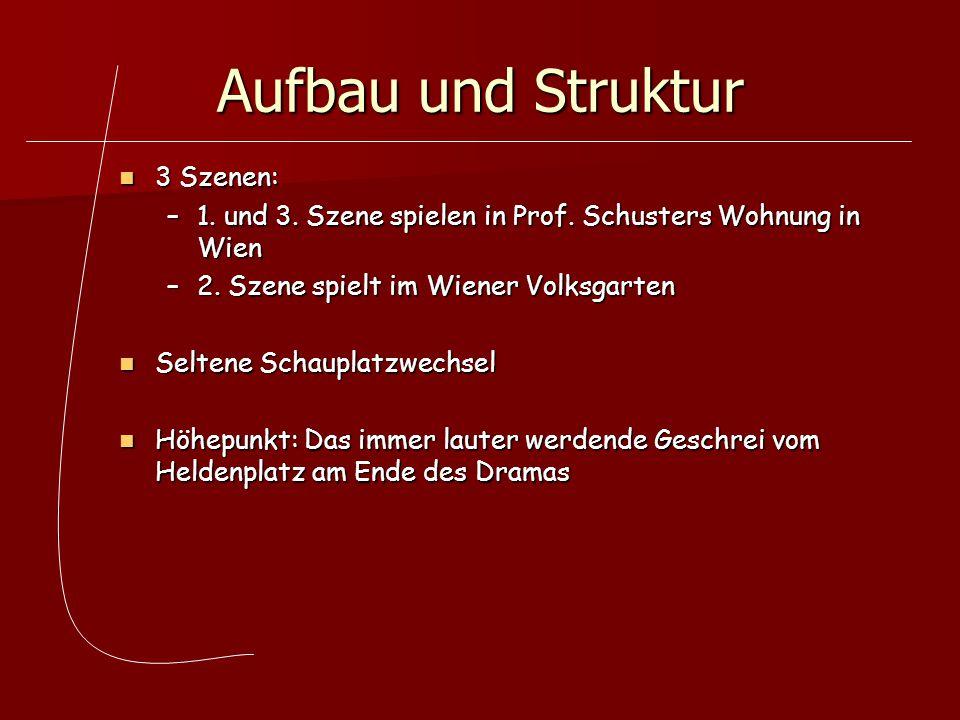Aufbau und Struktur 3 Szenen: 3 Szenen: –1. und 3. Szene spielen in Prof. Schusters Wohnung in Wien –2. Szene spielt im Wiener Volksgarten Seltene Sch