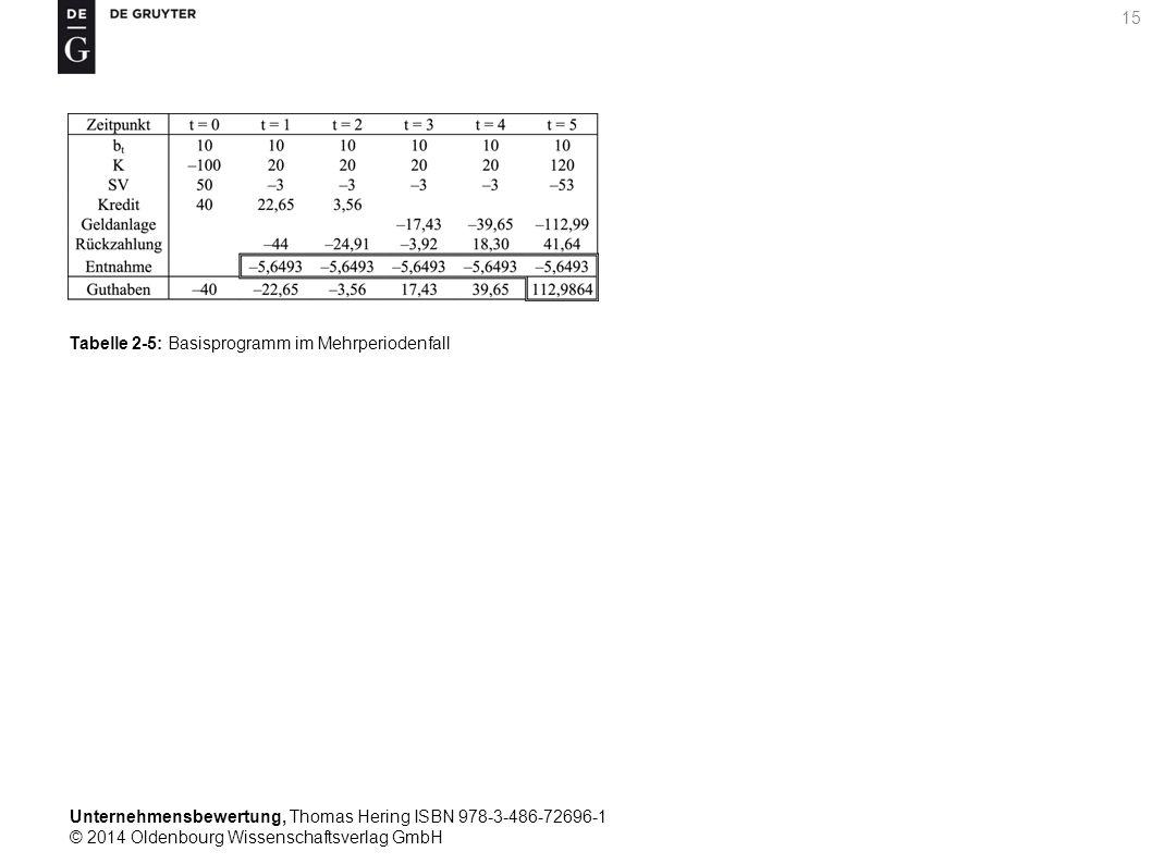 Unternehmensbewertung, Thomas Hering ISBN 978-3-486-72696-1 © 2014 Oldenbourg Wissenschaftsverlag GmbH 15 Tabelle 2-5: Basisprogramm im Mehrperiodenfa