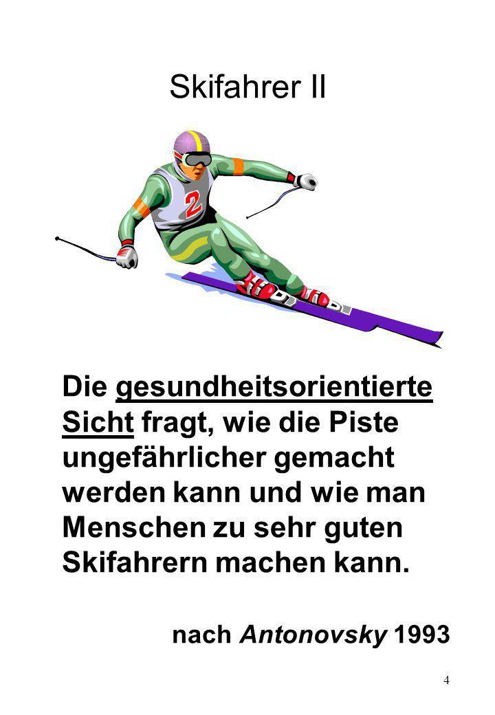 4 Skifahrer II Die gesundheitsorientierte Sicht fragt, wie die Piste ungefährlicher gemacht werden kann und wie man Menschen zu sehr guten Skifahrern machen kann.
